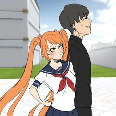 Osana walking with Senpai in