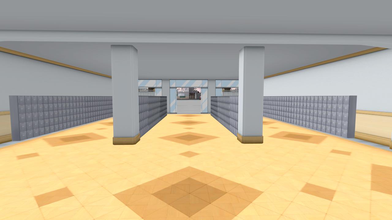an empty locker room near the entrance of the school january 4th 2017