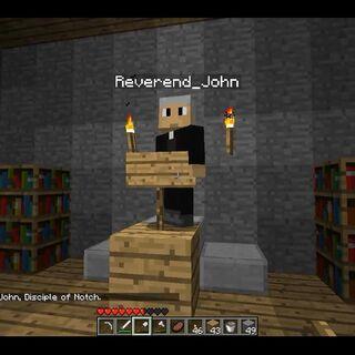 Reverend John in St. Creeper's Church.