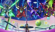 Yuya summoning all Four Dimension Dragons