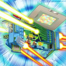 """""""Deskbot 001"""", """"002"""", """"003"""", """"004"""", """"005"""", and """"006""""  driving """"Deskbot Jet"""""""