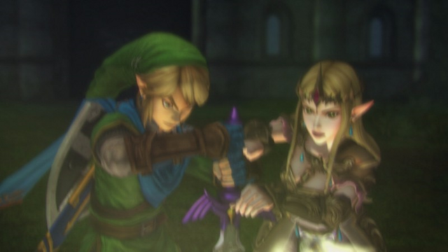 File:Hyrule Warriors Liberation of the Triforce Link & Zelda return the Master to its Sacred Pedestal (Cutscene).png