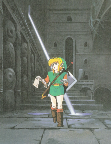 File:Link in a Dungeon (Link's Awakening).png