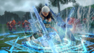Hyrule Warriors Giant Blade Impa creating several Giant Blades with Hydrokinesis (Level 1 Giant Blade)