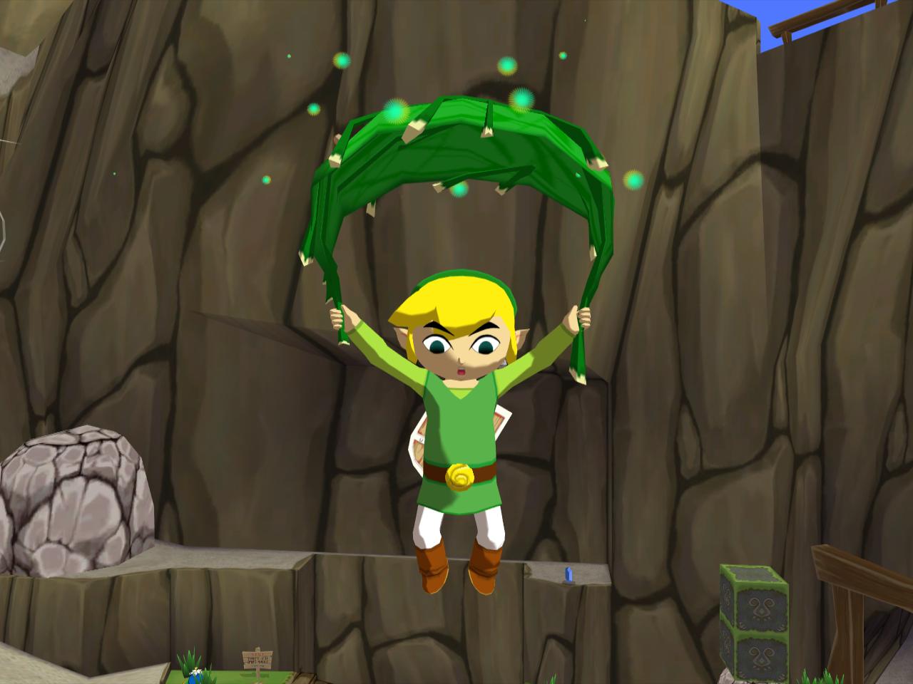 Link using the Deku Leaf to  Toon Link Wind Waker