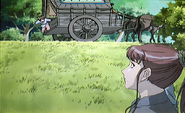 Youko looking at caravan