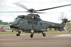 Swiss Air Force Super Puma arrives RIAT Fairford 10thJuly2014 arp