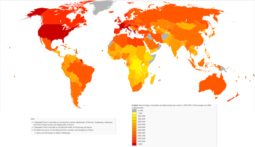 World map of Energy consumption 2001-2003.