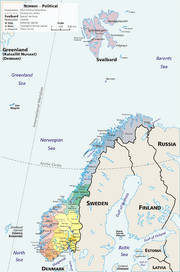 Map Norway political-geo