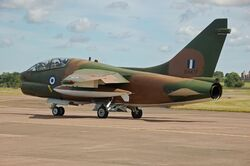 Greek Air Force LTV TA-7G Corsair II departs RIAT Fairford 14thJuly2014 arp