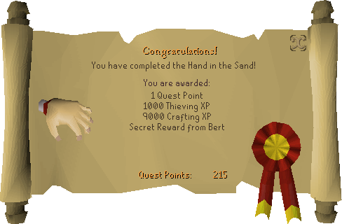 The Hand in the Sand reward scroll
