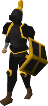 Black gold-trimmed set (lg) equipped