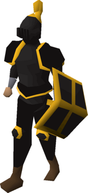 Black gold-trimmed set (lg) equipped
