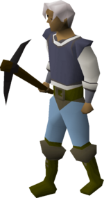 Black pickaxe equipped