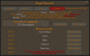 Slayer reward points (Tasks) interface