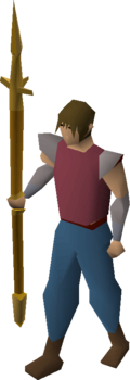 Gilded hasta equipped