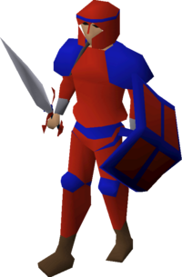 Red decorative armour equipped