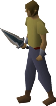Glowing dagger equipped