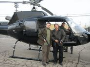 24- Day 5 helicopter stuntmen Dan Lemieux, Thom Williams and John Dixon (background) with pilot Chuck Tamburro