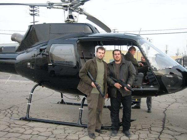 File:24- Day 5 helicopter stuntmen Dan Lemieux, Thom Williams and John Dixon (background) with pilot Chuck Tamburro.jpg