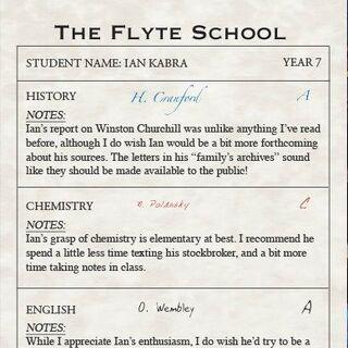 Ian's Grade 7 Report Card