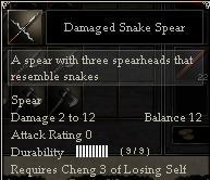 Damaged Snake Spear