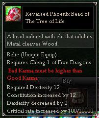 Reversed Phoenix Bead of The Tree of Life