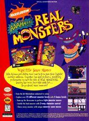 Aaahh Real Monsters video game print ad SNES Sega NickMag Nov 1995