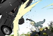 Yu-hwa hits a car