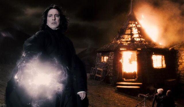 File:Snape with Hagrid's hut burning HBP.jpg