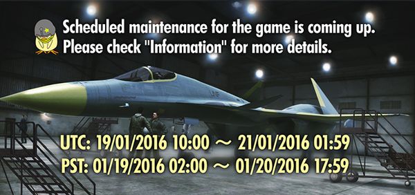 Ace Combat Infinity Maintenance Banner January 2016