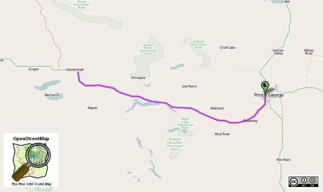 File:Vanderhoof to Prince George route.jpg