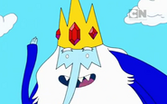 Ice King wearing his tunic and looking happy