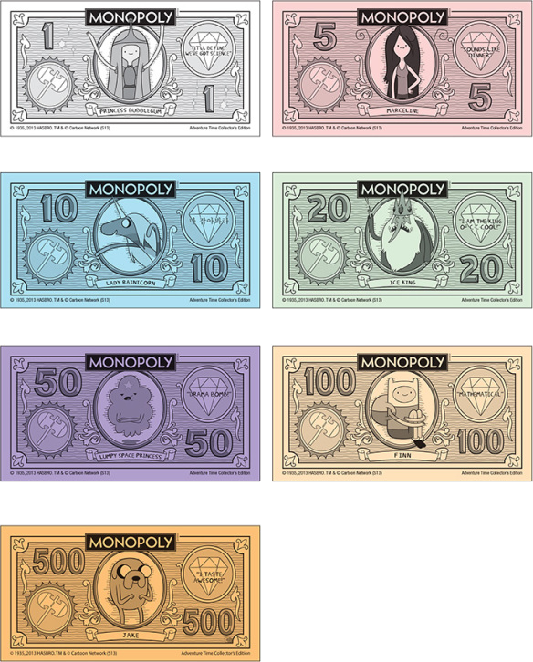 Image adventure time monopoly adventure time for Monopoly money templates