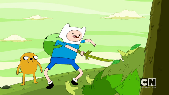 File:S05e45 Finn forcing the wizard to lift the curse.png