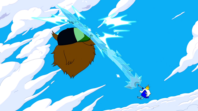 File:S5e22 Ice King hitting Party God with ice sword.png