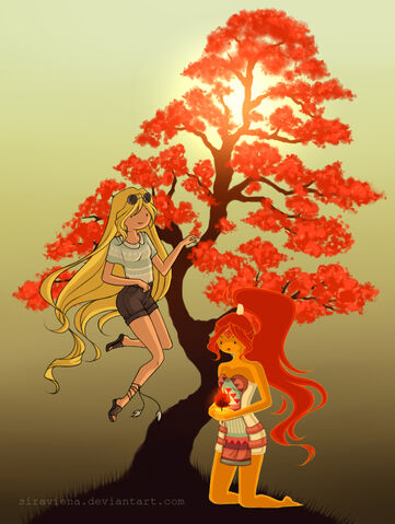 File:Fionna and flame princess hippie style by siraviena-d5m7j43.jpg