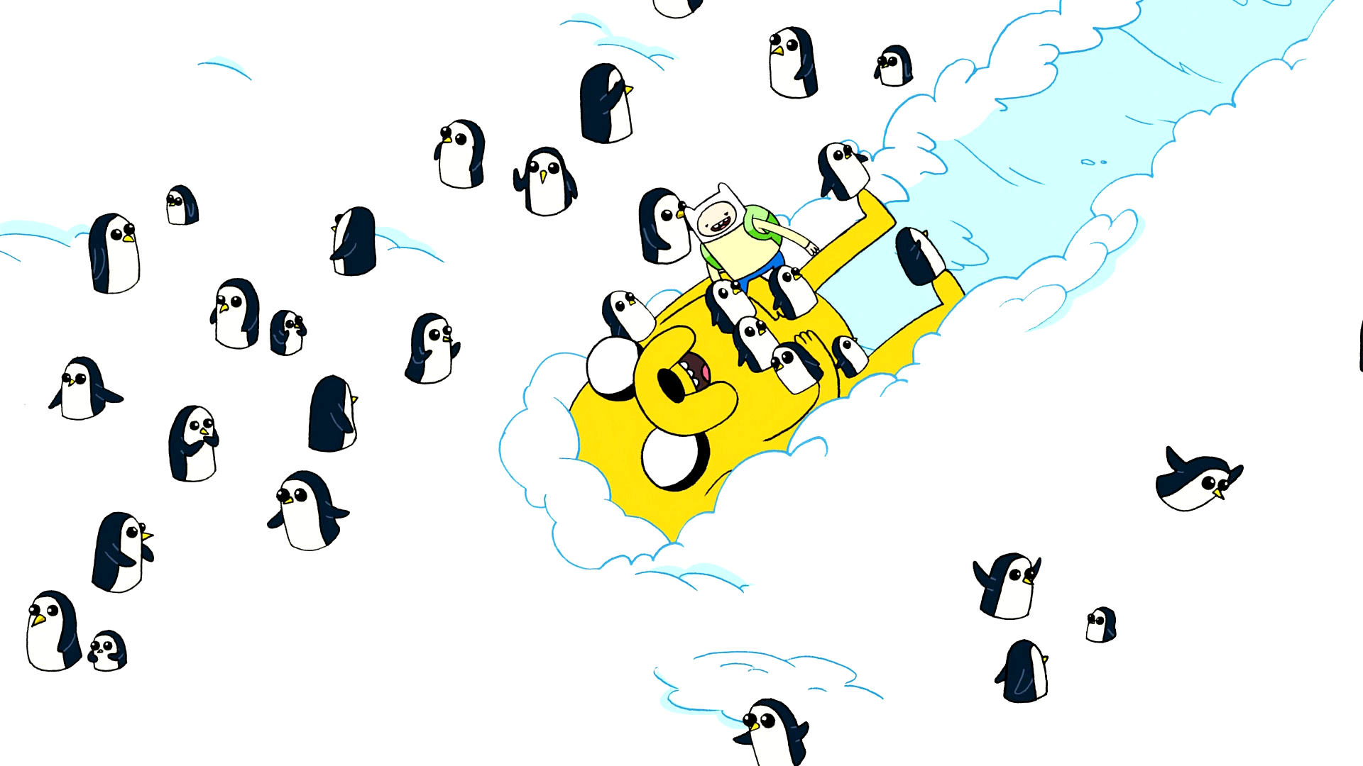 File:S1e3 finn and penguins on jake.png