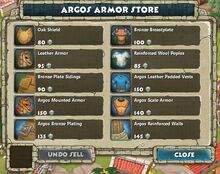 Argos Armor Store Panel