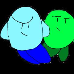 Blue Kirby alongside Green Kirby.
