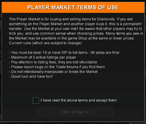 Player market terms of use