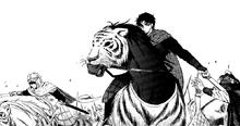 Joo-Doh rides his horse that has tiger pelts
