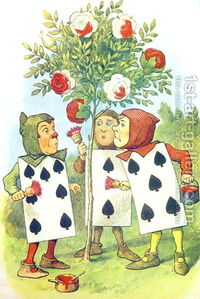 The-Playing-Cards-Painting-The-Rose-Bush,-Illustration-From-Alice-In-Wonderland-By-Lewis-Carroll-1832-9