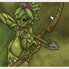 A Floran preparing to fire an arrow from a bow.