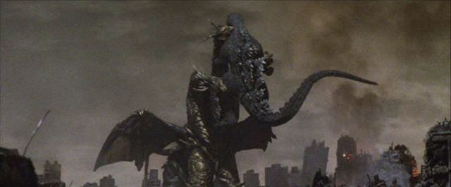 File:Keizer Ghidorah begins to drain Godzilla's Energy..png