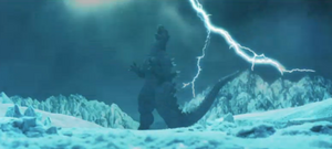 Godzilla roars in triumph after defeating Gigan.