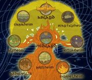 Yggdrasil connecting the nine realms