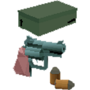 Shoebox and revolver