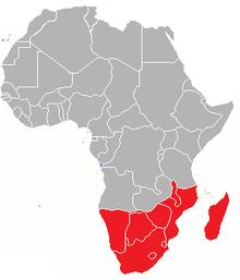 Locatie van Zuid-Afrika