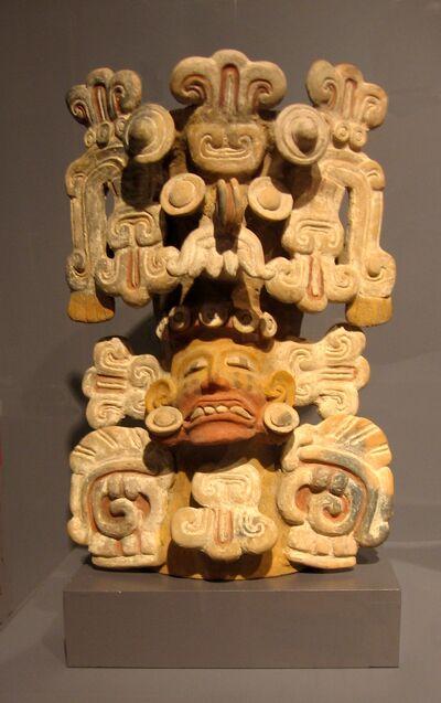 Tarascan incense burner w Tlaloc headdress